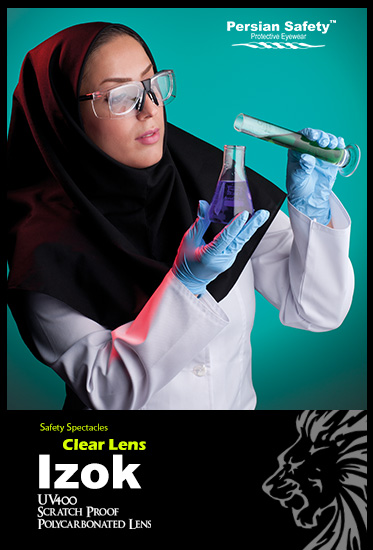 Izok|Double|Frame|Extendable|Temple|Functions|Safety|Spectacles|UV400|Clear|Persian Safety|Glasses|قابل تنظیم|عینک ایمنی|ایزوک| پلی کربنات|ضدضربه|شفاف|طبی|دوجداره|ریگلاژی|دسته|پرشین سیفتی