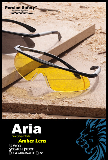 Aria |Extendable|Temple|Functions|Safety|Spectacles|UV400|Amber|Persian Safety|Glasses|قابل تنظیم|عینک ایمنی|آریا| پلی کربنات|ضدضربه|زرد|دید در شب|ریگلاژی|دسته|پرشین سیفتی